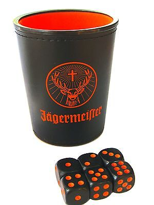 German Jagermeister Dice Cup With 6 Dice / Brand New