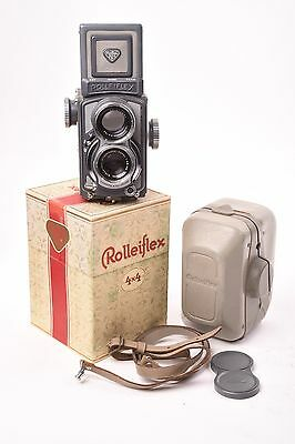 Camera TLR Rolleiflex 4x4 with Xenar lens f/3.5 - 60mm with box, case and cap.