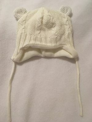H&M Cute Knitted Bear Hat With Ears Cream 0-6m Neutral Baby Boys Girls