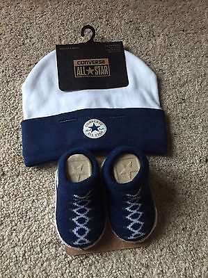 Baby Converse Hat And Sock Set In Blue (0-6 Months)