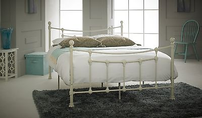 Chester Textured cream METAL BED in 4ft and 4ft6 with mattress