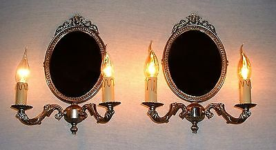 Large Vintage French Brass silver finish mirror sconces very good quality