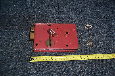 Vintage metal door lock & key no keep rim lock? For restoration used see det