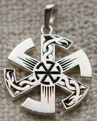 Russian Whirling Slavic Black Sun Symbol Runic Pendant Necklace 1""