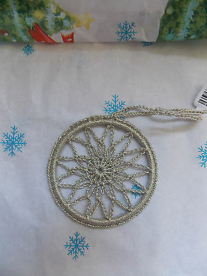 New Crate & Barrel Crocheted intricate SILVER SNOWFLAKE Christmas Ornament