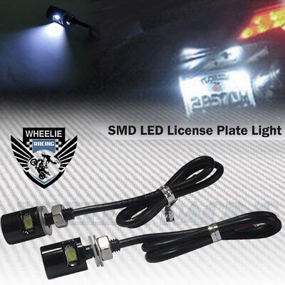 2X 6000K White Smd Led 12V Black License Plate Screw Bolt Light/lamp/bulb+Wire