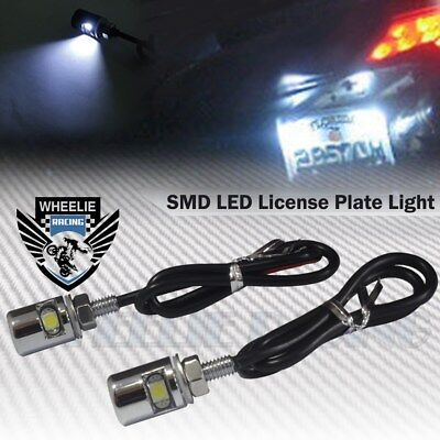 2 6000K White Smd Led 12V Chrome License Plate Screw Bolt Light/lamp/bulb+Wire