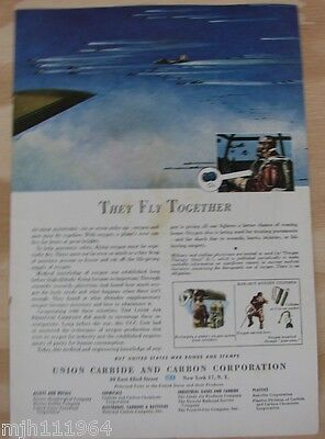 """1940's Union Carbide WWII advertisement """"they fly together"""""""