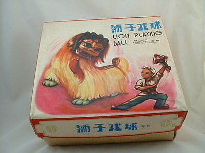 Vintage Battery Operated  Toy ME 795  Lion Playing Ball W/Box 1960's Red China
