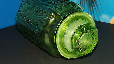 "~Vintage Unique LE Smith Green Glass 9.5"" Canister Jar with Lid~"