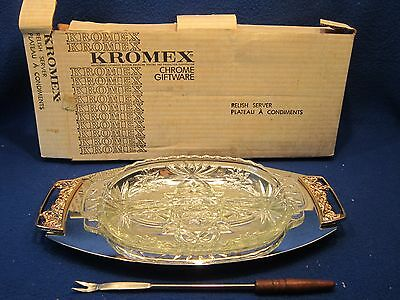 Kromex Relish Party Chrome Plated Glass Vintage Serving Tray + Fork For Holiday