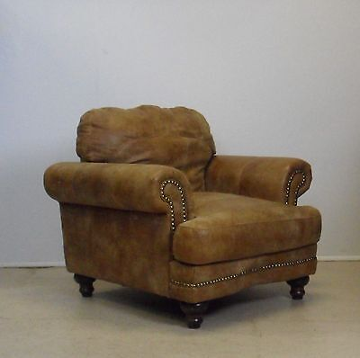 Tan Leather Chair Armchair With Stud Details