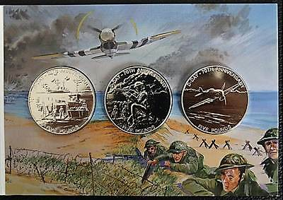 RARE 2014 D-DAY £5 Coins Pack - Bailiwick of Guernsey BU x3 Five Pound Coins