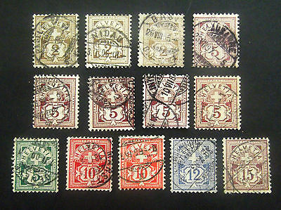 Switzerland-1882/1905-Nice group of Numerals-Used