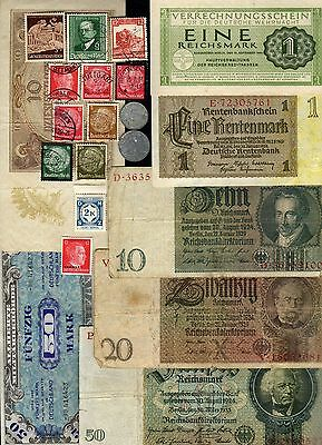 Nazi Germany Banknote, Coin And Stamp Set  # 100