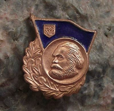 FDJ Freie Deutsche Jugend East German Karl Marx Free Youth Communist Pin Badge