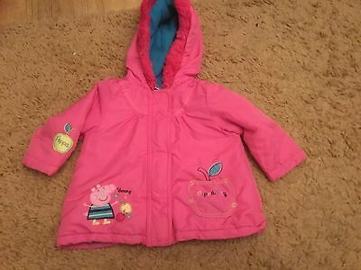 PEPPA PIG PINK HOODED COAT AGE 2-3 yrs has very very small mark on  front