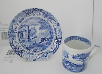 Blue Italian Spode Design Small Coffee Cup And Saucer.  Made in England.