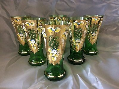 Beautiful Bohemian Cut Egermann Glass Crystal Green Set Decorated Gold