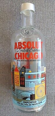 Absolut Vodka Limited Edition Collectible Chicago Bottle (Empty)