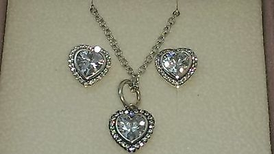 Genuine Pandora Sparkling heart pendant charm  and earring set S925 ALE