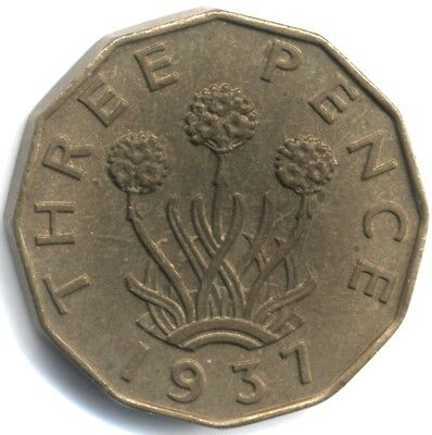 1937 George VI Nickel-Brass Threepence***UNC***Collectors***