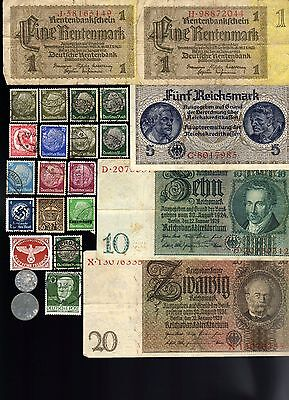 Nazi Banknote, Coin And Stamp Set  # 10