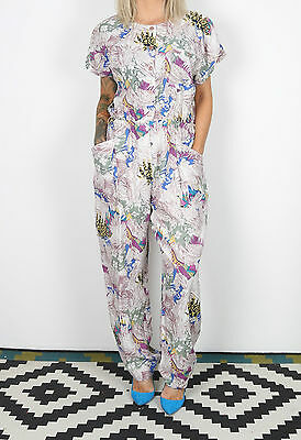 Jumpsuit UK 12-14 M L  approx. 1980's 80's  All in one Vintage Floral  (5BH)