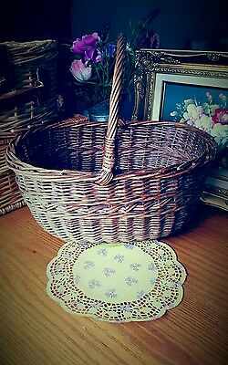 Large Vintage Retro Shabby Chic Wicker Shopping Cookery Storage Basket