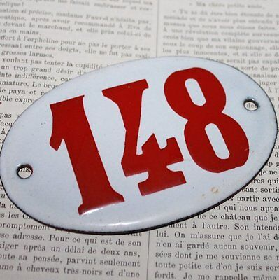 Vintage French Porcelain Red Enamel House Number Sign 148