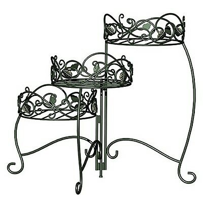 Panacea Products 3-Tiered Folding Scroll  and  Ivy Plant Stand Black with