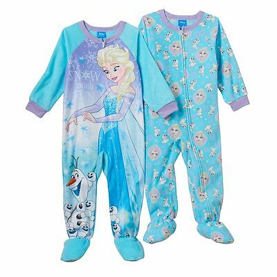 New Disney's Frozen Elsa & Olaf 2-Pack Toddler Girl Footed Pajamas 2T 3T