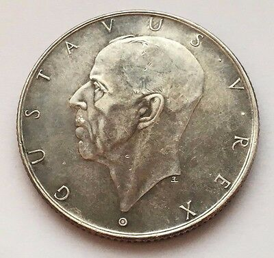 1938 Sweden Silver 2 Kronor Gustaf V Coin Free Shipping