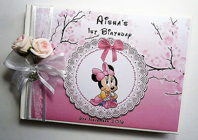 Personalised Minnie Mouse  Girls/first/1St Birthday Guest Book - Any Design