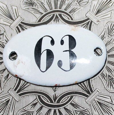 Vintage French Apothecary Porcelain Enamel Number Sign 63
