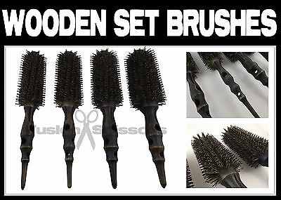 Professional Hairdressers Salon Carbon Wooden Round Set Brushes