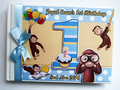 Personalised Curious George Boy 1St Birthday Guest Book - Any Design