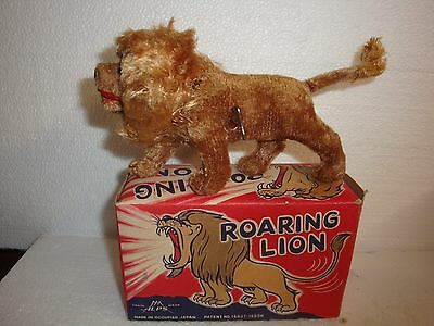 Tin Body Cloth Covered Roaring Windup Lion by Alp's (NMIB)(Occupied Japan)1950's