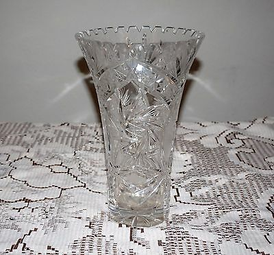 "Vintage Heavy Crystal Vase Lead Etched Star Of David Starburst 10""T Windmill Cut"