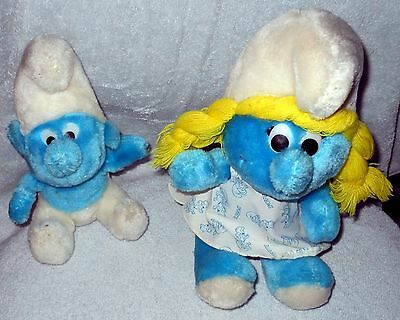 "Smurf, Smurfette Plush Dolls, Lot Of 3 - Vintage 1980 & 1981 - 2-8"". 1-10"""