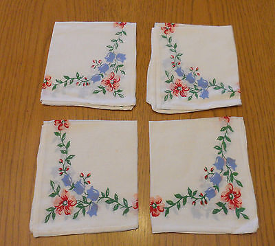 Lot of 4 Ladies Printed Floral Hankies Handkerchiefs