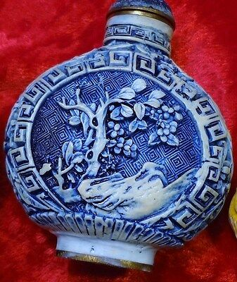 Qing Dynasty Chinese  Blue Color Carved Cinnabar Snuff Bottle