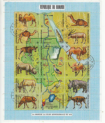 Wildlife: Burundi, Two Miniature Sheets of the Nile, used, 10 Dec & 19 Oct 1970