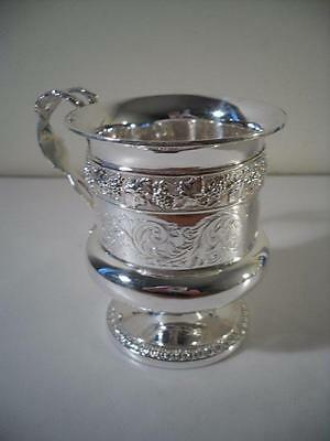 An Antique George III Silver Mug w. Grape and Vine Decoration : London 1816