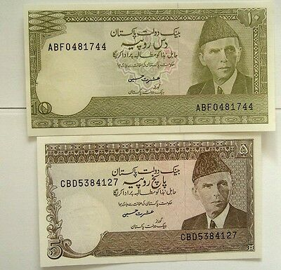 2 Banknotes Pakistan 5 & 10 Rupees 1983-84 Nd Issue A/unc Cond