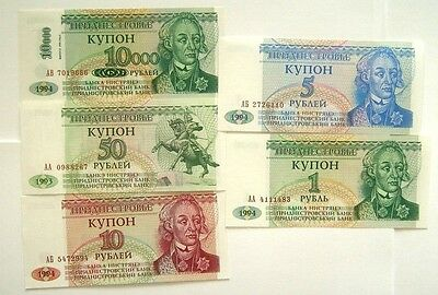 5 Banknotes Transnistria 1,5,10,50,10000 On 1 Ruble 1993-1996 Issue Unc Cond.