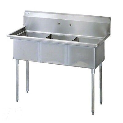 Commercial Stainless Steel - Three Compartment Sink 59 inch x 24 inch