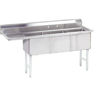 Commercial Stainless Steel - Three Compartment Sink 74.5x24 Left Drain Board