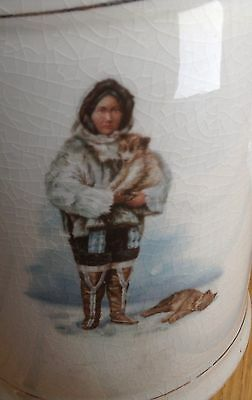"White China Water Milk Pitcher 7"" Eskimo Inuit Image Full Dress Puppy Alaskan"
