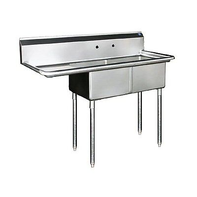 """Commercial Stainless Steel - Two Compartment Sink 56.5"""" x 24"""" Right Drain"""